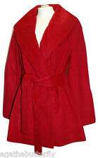 Coat Red Oversized Fit & Flare Shawl Collar Belted KRISTEN BLAKE Wool Blend NEW