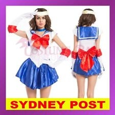 Blue Sailor Moon Costume Cosplay Uniform Fancy Dress Up Hens Party Outfit Glove