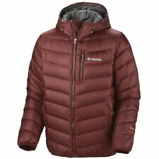 NWT COLUMBIA MENS NATURE RIDGE DOWN OMNI HEAT HOODED JACKET COAT L Red Rocks