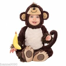 GIRLS BOYS BABY TODDLER MONKEY AROUND FANCY DRESS COSTUME OUTFIT & BANANA RATTLE