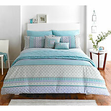 Aztec Style Duvet Cover with Unique Tribal Prints in Duck Egg Blue Grey & Cream