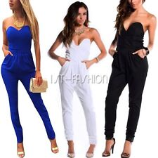 2015 Sexy Womens Strapless Cocktail Evening Party V Neck Jumpsuit Romper Pants