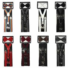 New Mens Womens Wedding Clip-on Suspender + Bow-Tie Combo Adjustable Braces