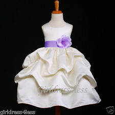 IVORY/LILAC LAVENDER WEDDING PICK UP FLOWER GIRL DRESS 6M 12M 2 4 6 8 9 10 11 12
