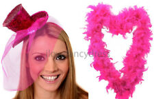 PINK GLITTER TOP HAT & FEATHER BOA LADIES BURLESQUE FANCY DRESS HEN NIGHT PARTY
