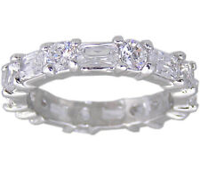 Clear Round and Rectangle Eternity Ring Size 6 8 9 or 10 Cubic Zirconia Jewelry