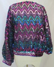 PRAISE HYMN SEQUINS KNIT  TOP COLORFUL CRUISE SHIP DINNER BLOUSE