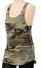 Women's Woodland Camouflage Racerback Tank Top - Camo Cotton Sleeveless T-Shirt