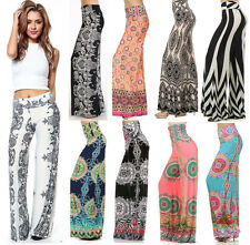 NEW Boho PRINT PALAZZO PANTS High Waist Yoga Foldover Band Wide legs USA S M L