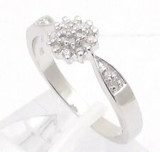 STERLING SILVER 0.15CT DIAMOND CLUSTER ENGAGEMENT RING SIZE H-W ANNIVERSARY GIFT