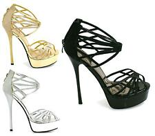 Ladies Strappy High Heel Platform Stiletto Womens Peep Toe Sandals Shoes Size