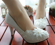 Womens Wedding Stilettos Party Lace Flower Decor Bridal  Heels New Fashion Shoes