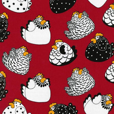 Brite Happy Hens on Red Chickens 100% Cotton Fabric Nutex