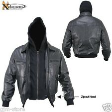 Xelement Men's B91678 Cowhide Leather Bomber Zip Out Hooded Jacket