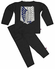 STARDUST KIDS BOYS GIRLS MANGA ANIME ATTACK ON TITAN SURVEY CORP PYJAMAS (BLACK)
