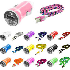 Noodle Rope Braided Sync USB Data Cable Cord 3FT+Dual 2A Car Charger for iPhone