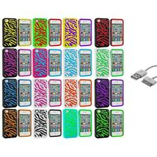 Zebra Color Hybrid Hard/Soft 2-Piece Case Cover+Sync Cable for iPhone 4 4G 4S