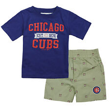 MLB Baseball Infants Chicago Cubs Tee and Shorts Set - Blue and Tan