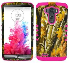 Phone Case for LG G3 Hybrid Impact Dual Layer Cover Oak Tree Branch Camo Pink