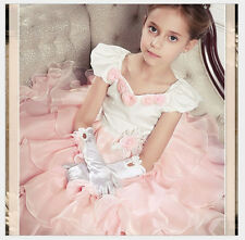 3 New 3D Rose Ribbons Lace Pretty Elegant Girl Ball Gown Full Dress Wed Evening