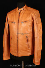 Men's SAVAGE Tan Washed Lambskin Fitted Motorcycle Biker Style Leather Jacket