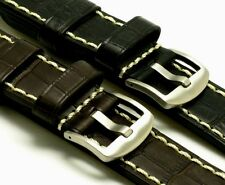 24mm Black Dark Brown Quality Leather Hand-Stitched Watch Band Crocodile Grain