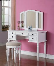 Vanity Set with Stool, Mirrow, Furniture, Beauty, Cosmetic,Jewelry,Storage, Desk