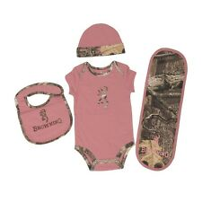 BROWNING BUCKMARK ROSE PINK MOSSY OAK INFINITY CAMO BABY INFANT SET - 4 PC