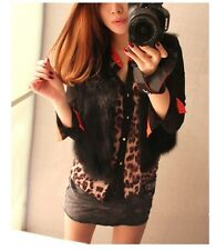 Fashion Womens Chiffon Leopard Print T Shirt Button Down Long Sleeve Blouse ab