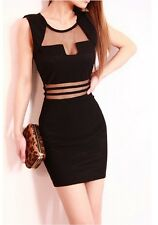 New Sleeveless Perspective Nightclub Sexy Gauze Hollow Slim Package Hip Dress ab