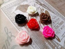 Resin Flower Cabochons Assorted Colors 13mm Rose Cabochons Flat Back 10pc 25pc
