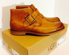 New In Box! Genuine UGG Mens Willmington Slip-On Tan Brown Nubuck Leather Boots