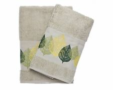 Winter Leaves Green Embroidered Bath And Hand Towel Turkish Cotton By Ebru
