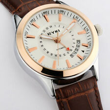 C8 US Mens Wrist Watch Classic Business Leather Strap Pointer Table  Mechanical