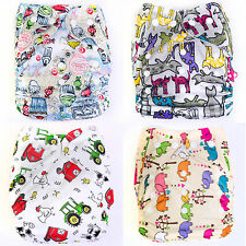 Hot Baby Infant Animals Printed Cloth Diapers Reusable Nappy Covers Liner Insert