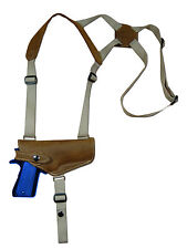 NEW Barsony Olive Drab Leather Shoulder Holster Colt, Browning Full Size HOR