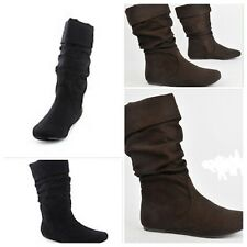 SODA BOOTS SIZE 5.5, 7, 8.5, BLACK or BROWN  FAUX SUEDE BOOTS MID CALF Slouchy