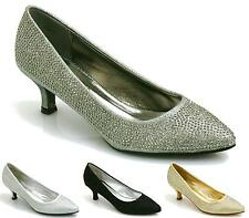 Womens Ladies Glitter Diamante Mid Heel Prom Party Evening Slip On Court Shoes
