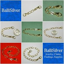 14kt Gold Filled 5x8mm Flat Hammered Cable Chain Extender with 2 Lobster Clasps