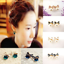 1 Pair Fashion Ladies Bowknot Shiny Cube 3D Crystal / Pearl Ear Stud Earrings