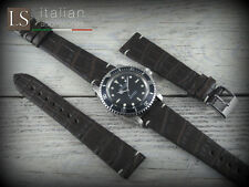 20 mm Genuine Italian Leather ALLIGATOR VINTAGE Watch Strap Band for Rolex Brown