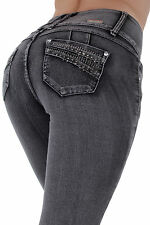 Style C582 - High waist Colombian style Butt lift stretch denim Boot Leg jeans