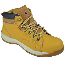 **MENS SAFETY BOOTS STEEL TOE CAPS ANKLE TRAINERS HIKING SHOES SIZE 6-13UK HONEY