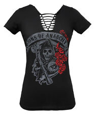 Sons of Anarchy Reaper Logo Roses NWT Women's Braided V-Neck Black T-Shirt