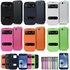 Slim Leather Flip View Window Smart Cover For Samsung Galaxy S3 III i9300