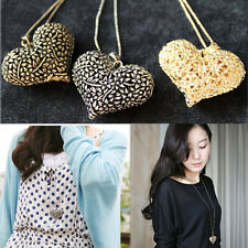 Fashion Ladies Chic 3D Big Hollow Heart Long Chain Sweater Necklace