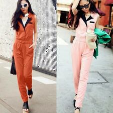 Casual Lapel Collar Sleeveless Womens Jumpsuit Rompers Trousers Pants Pocket New