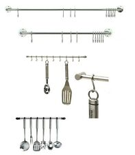 Chrome Hanging Rail for Kitchen Utensils Wall Mounted Rack Storage Tidy + Hooks