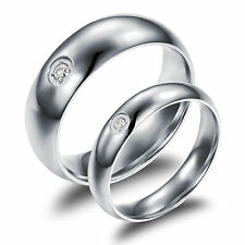 Classic His & Her Titanium CZ  True Love Rings  Wedding Promise Engagement Gifts
