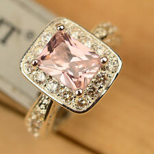 Flawless Pink & White Topaz 925 Sterling Silver Ring Size 6/7/8/9/10 J206